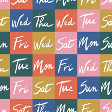 Vector Weekdays Seamless Pattern. Days Of The Week Lettering Colorful Background. Great For Scrapbooking.