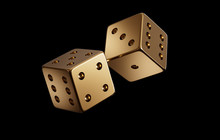 Photorealistic Luxury Golden Dice Throw For Online Gambling, Bet, Casino On A Black Background. Isolated.