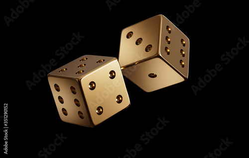 Photo Photorealistic luxury golden dice throw for online gambling, bet, casino on a black background