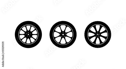 Fotografiet Set of vector icons car wheels on a light background.