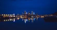 Cold Blue Sunrise Over Pittsburgh City Skyline.