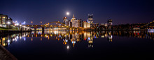 Pittsburgh At Night With Moon