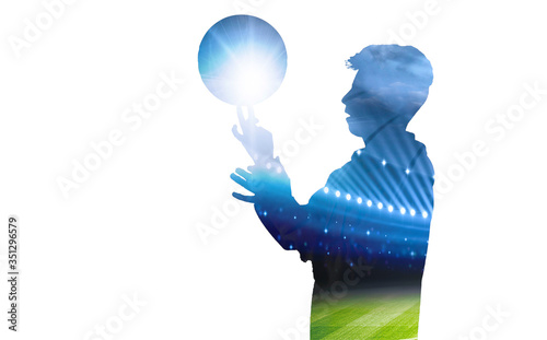Canvastavla Side View Of Silhouette Man Tossing Football