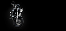 Chopper Motorcycle On A Black Background