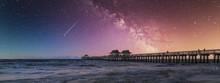 Coastal Dreams. Famous Naples Pier, Florida, America, USA. Beautiful Milky Way And Stars. Travel Concept.