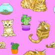 Leinwandbild Motiv Hand drawn cats and cactuses in a seamless pattern on pink background. Home happiness.