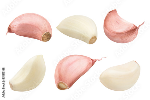 Fotografía Collection of garlic cloves, isolated on white background