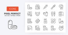 Pharmacy Line Icons 256 X 256