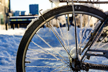 Close-up Of Snow On Bicycle At Street