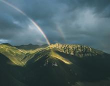 Aerial View Of Two Rainbows After Storm On The Top Of The Mountains, Verkhnyaya Teberda, Karachay-cherkessia, Russia