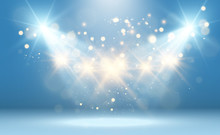 White Stage With Spotlights. Vector Illustration Of A Light With Sparkles On A Transparent Background.
