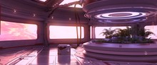 Futuristic Room With Neon Lights And Huge Windows Against Bright Pink Cloudscape. Cyberpunk Scene. Industrial Wallpaper.