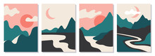 A Set Of Rectangular Abstract Landscapes. Sun, Moon, Mountains, Clouds, Rivers, Plants. Asian Design. Japanese Motives. Layouts For Social Networks, Ads, Banners, Posters. Vector Illustration