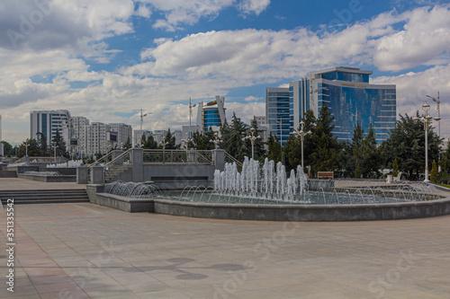 Fountains at Altyn Asyr Park in Ashgabat, capital of Turkmenistan Canvas Print