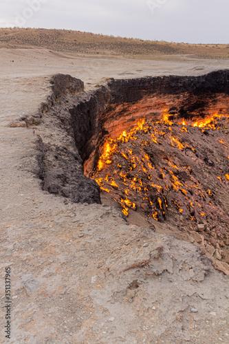 Canvas Darvaza (Derweze) gas crater (called also The Door to Hell) in Turkmenistan