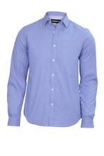 Chess Print Blue Shirt For Men, Isolated. Men Stylish Blue Shirt Cutout. Stylish Light Blue Shirt Isolated On White.