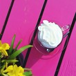 canvas print picture - Coffee With Whipped Cream On Pink Table