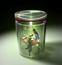 3D Rendering Of Man Working At Desk, Isolated In Preserving Jar