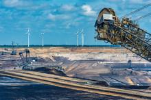 Garzweiler Surface Mine With Wind Turbines In Background, North Rhine-Westphalia, Germany