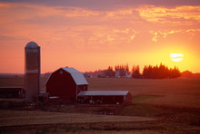 Barn And Silo At Sunset, Rolli...