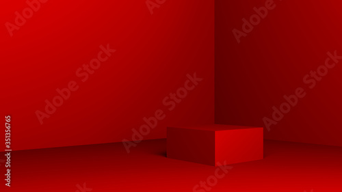 Fotografiet red pedestal on a red background with place for text, cube wall and floor 3d ill