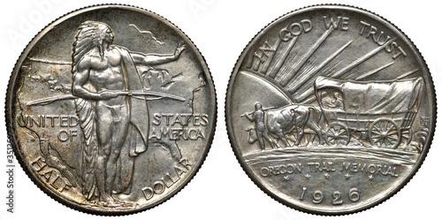Fototapeta United States US silver coin 1/2 half dollar 1926, subject Oregon Trail Memorial