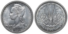 French Cameroon Aluminum Coin 1 One Franc 1948, Small Ships Left To Winged Bust, Gazelle Antlers Divide Denomination, Corn Cobs Flank,