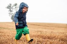 Happy Little Girl Walking On S...