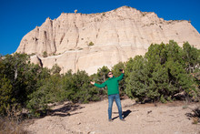 Man Posing For A Selfie In Front Of Kasha-Katuwe Tent Rocks National Monument, New Mexico, United States Of America, North America