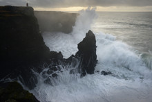 Saxholsbjarg Cliff Being Hit By Large Waves, Iceland, Polar Regions