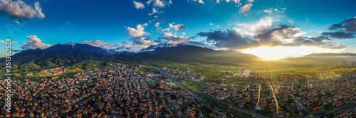 Aerial view by drone of Bansko and Pirin National Park, UNESCO World Heritage Site, Bankso, Bulgaria, Europe - 351362528