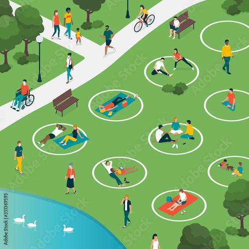 Obraz Social distancing circles in the city park - fototapety do salonu