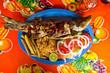 Gebratener Fisch mit Chili - Spezialität Mexiko, fangfrisch, bunt, scharf