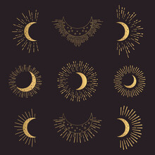 Hand Drawn Gold Half Moon With...