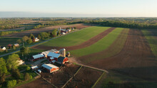 Aerial View Of American Countryside Landscape. Farm, Red Barn, Cows. Rural Scenery, Farmland. Sunny Morning, Spring Summer Season