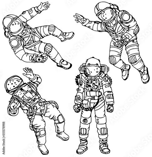 Fototapeta Cartoon hand drawn astronauts retro illustration set