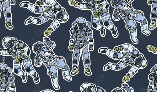 Fotografie, Obraz Cartoon hand drawn astronauts retro seamless pattern