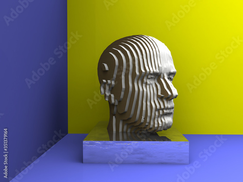 Photo Cabeza 3d con textura de láminas superpuestas de cartón en fondo azul y amarillo
