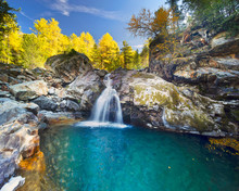 Waterfall In The Alps Morterat...