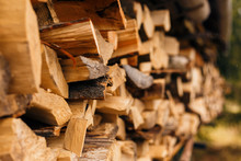 Closeup Of Chopped Firewood In...