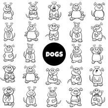 Black And White Cartoon Dog Characters Emotions Big Set