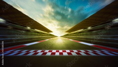 Fotografie, Obraz Motor Racing Track Against Sky During Sunset
