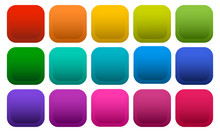 Colorful Square Buttons Isolated On White Background. Vector Illustration