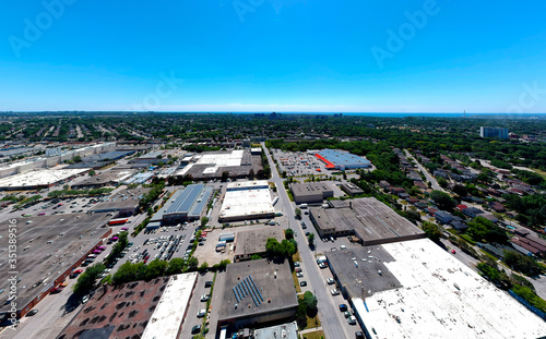 Vászonkép View of Toronto, Ontario, Canada summer skyline with urban industrial area to the residencies