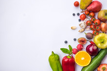 High Angle View Of Fruits And Vegetables On White Background