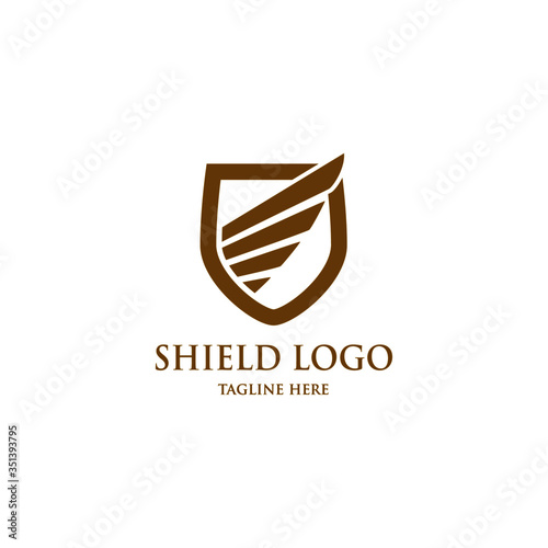 Leinwand Poster shield wings logo protection isolated, heraldic shape with abstract wings, vector logo design template