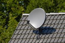 Satellite Dish On Roof Against Trees