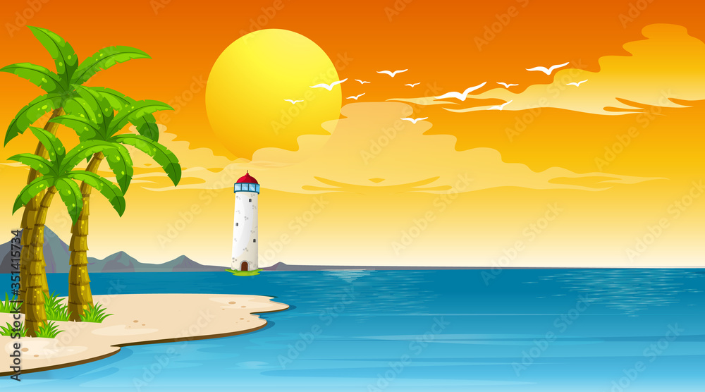 Fototapeta Scene with lighthouse and the sea at the sunset