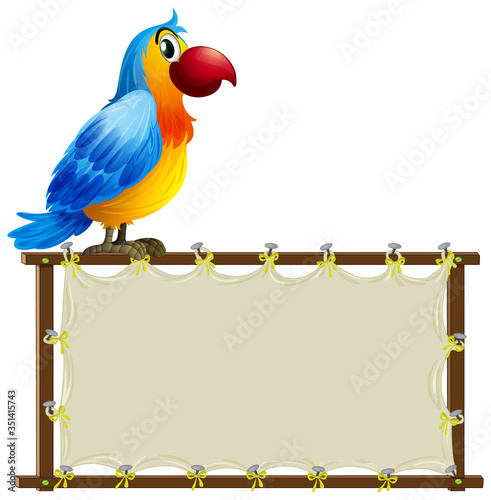 Board template with cute macaw on white background Fotomurales