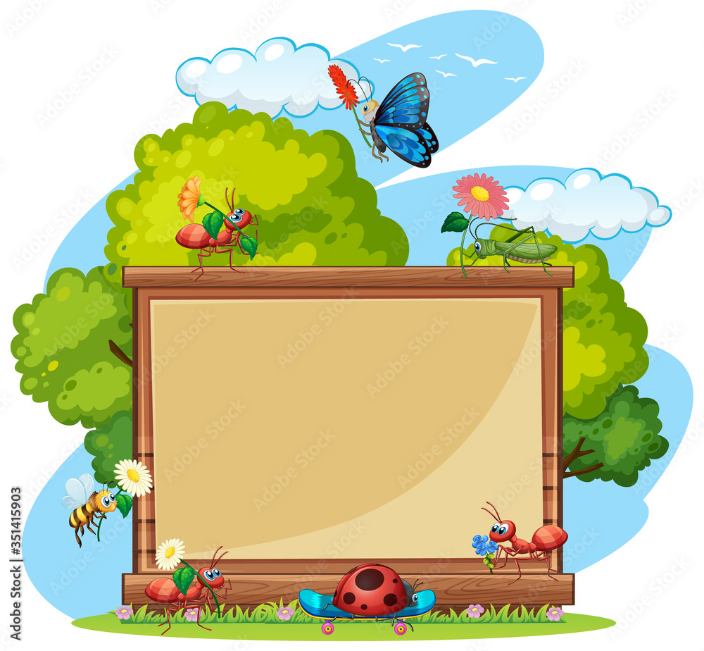 Fototapeta Border template design with insects in the garden background
